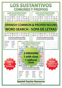 Los sustantivos comunes y propios en español – Sopa de Letras – Spanish Common Nouns and Proper Nouns Word Search