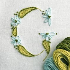 DIY pdf Crewel Embroidery Pattern Monogram G is for Garden instant download  ring bearer pillow christening gown