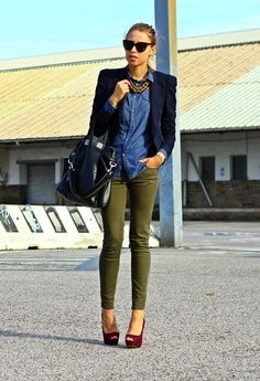 Styling olive trews with deep blue blouse