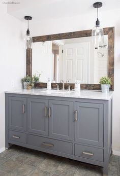Get inspired by Modern Farmhouse Bathroom Design photo by Cherished Bliss. Wayfair lets you find the designer products in the photo and get ideas from thousands of other Modern Farmhouse Bathroom Design photos. Farmhouse Bathroom Mirrors, Bathroom Renos, Bathroom Remodeling, Vanity Bathroom, Bathroom Furniture, Bathroom Grey, Gray Bathrooms, Design Bathroom, Bathroom Colors