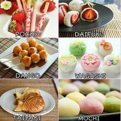 I wonder who might enjoy these! Japanese Snacks, Japanese Sweets, Japanese Food, Cute Desserts, Asian Desserts, Dessert Recipes, Mochi, Desserts Japonais, Japan Dessert