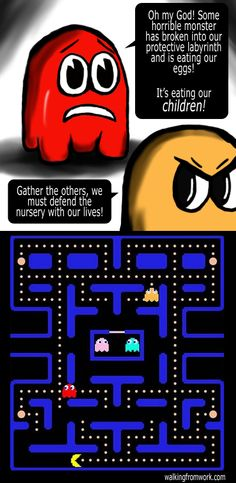 That awkward moment when you realize: You (Pac-Man) are the villain of the game.