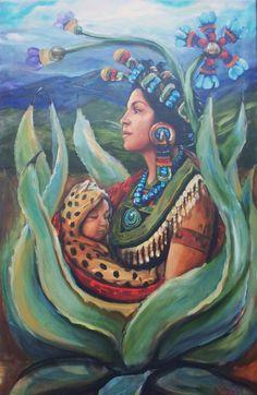 Dec Tonantzin - health mother of Mexico. Mexican Artwork, Mexican Folk Art, Sacred Feminine, Divine Feminine, Art Latino, Aztec Culture, Aztec Warrior, Aztec Art, Mesoamerican