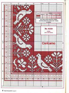 Gallery.ru / Фото #1 - Салфетка с птичками - irgelena Cross Stitch Bookmarks, Cross Stitch Borders, Cross Stitch Charts, Cross Stitch Embroidery, Embroidery Patterns, Cross Stitch Patterns, Hungarian Embroidery, Patch Quilt, Baby Knitting Patterns