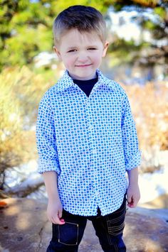 Sis Boom Pattern Co - Ethan Shirt - fits boys 12 months to 12 years.