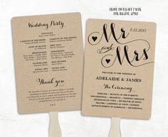 Printable Wedding Program Template Fan Cheap DIY Kraft Programs Editable