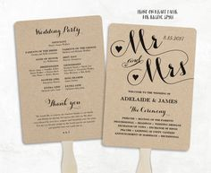 Printable Wedding Program Template, Fan Wedding Program, Cheap DIY Kraft Wedding Programs, Editable text, 5 x 7, 3 Colors Included, Mr & Mrs by VineWedding on Etsy https://www.etsy.com/listing/270575130/printable-wedding-program-template-fan