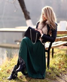 Pleated maxi skirt, leather jacket & studded biker boots