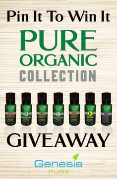Today we are giving away 1 PURE Organic Collection, 1 Jojoba Oil Blend, and 1 USB Diffuser! To enter complete EACH of the following: 1.	Follow Genesis PURE™ on Pinterest 2.	Like this post 3.	Comment and tell us why you want to try the oils 4.	Repin this post The winner will be announced today on Pinterest and Facebook at 5:00 p.m. (MDT). *No purchase necessary. All participants are eligible to win prize regardless of status or whether they have entered into a contract with Genesis PURE.
