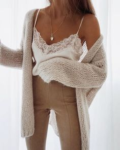 Hate these colors but love the look of the pieces ! Lace cami with cozy oversized cardigan Hate these colors but love the look of the pieces ! Lace cami with cozy oversized cardigan Mode Outfits, Casual Outfits, Fashion Outfits, Womens Fashion, Fashion Trends, Fashion Styles, Fashion Clothes, Fashion Ideas, Fashion Tips