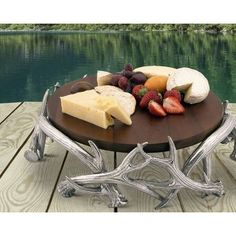 Arthur Court Antler Wood Cheese Pedestal Cake Stand