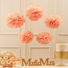 Pastel Perfection Pastel Pink Tissue Paper Pom Poms | GettingPersonal.co.uk