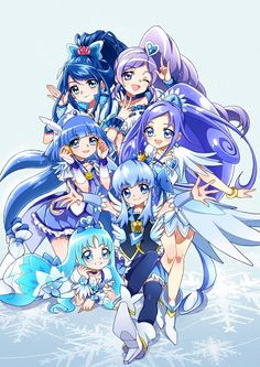 Cure Aqua (Karen), Cure Berry (Miki), Cure Beauty (Reika), Cure Diamond (Rikka), Cure Princess (Hime), and Cure Marine (Erika)