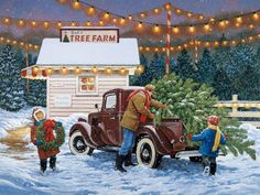 Winter: Christmas Wreath Tree Holiday Artwork Art Painting Illustration December Claiming Farm Occasion Scenery Children Winter Wallpaper Apple for HD High Definition Wide Widescreen WUXGA WXGA WGA Standard Fullscreen Christmas Truck, Christmas Tree Farm, Old Christmas, Christmas Scenes, Retro Christmas, Vintage Christmas Cards, Vintage Holiday, Country Christmas, Christmas Pictures