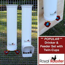 ROYAL ROOSTER Chicken / Poultry Coop - Waterer / Drinker & Feeder Set -Twin Cups