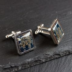 These circuit board cufflinks are heavy weight and luxury looking. They are made for a man who is a geek deep inside his formal suit. They allow you to show off your personality at whatever time in yo