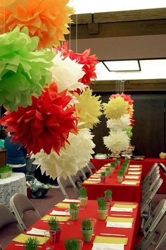 Tissue paper pompoms. Tutorial here: http://www.marthastewart.com/how-to/tissue-paper-pom-poms-how-to