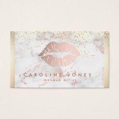 #makeupartist #businesscards - #rose gold lipstick kiss makeup artist on marble business card