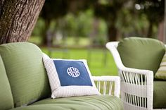 monogram lounge pillow.  #7, Southern Detail. #wedding