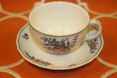 Villeroy Boch Alt Strassburg Flat Coffee Cups Saucers No 2 Green Trim Set of 4  | eBay