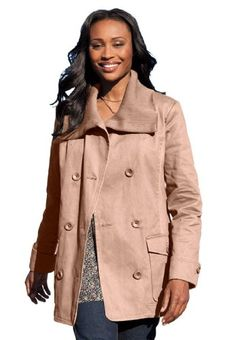 9e96182ba2fa4 Woman Within Plus Size Double-breasted twill jacket. Franc Buzzeodm · Womens  Outerwear   Coats