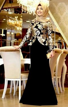 Gaun pesta modern muslim glamour