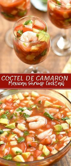 Coctel de Camarones with shrimp, tomatoes, onions, cucumber, cilantro, jalapenos in clam and tomato juice cocktail. This Mexican Shrimp Cocktail is refreshing and seriously addicting! Serve with saltine crackers or tostadas for the best Mexican flavors! #appetizers #shrimp #seafood #recipes #Mexicanfood #shrimpcocktail