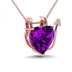 Jeulia Design Rose Gold Devil Heart Cut Amethyst Rhodium Plating... ($96) ❤ liked on Polyvore featuring jewelry