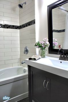 love the white subway tiles with the strip of smaller glass ones