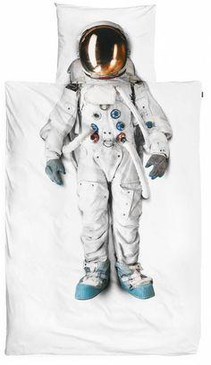 Snurk+Bettwäsche+Astronaut+aus+Baumwolle,+weiß,+140x220cm