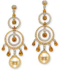 Cellini Jewelers Golden Pearls Drop From Rings of Yellow Sapphire and White Diamond Pave' Accented with Bezel-Set Yellow Sapphires and White Diamonds, with Citrine Drops; in 18-Karat Yellow Gold