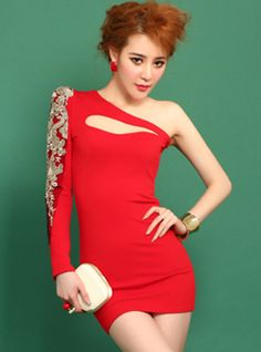 Red Sexy Embroidered Dress