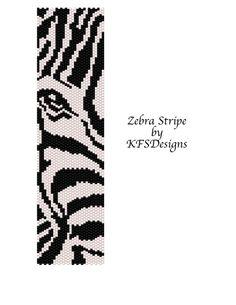 Peyote Bracelet Pattern Zebra Stripe Buy 2 Patterns by KFSDesigns: Peyote Stitch Patterns, Seed Bead Patterns, Weaving Patterns, Bracelet Patterns, Bead Loom Designs, Peyote Beading, Bead Jewelry, Marque Page, Beaded Bracelets