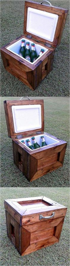 No one can judge that it is a cooler when it is closed because it looks like a box, it is small, so it can be taken in a vehicle anywhere a person needs it by filling it with the bottles. It is a good idea to create the cooler with pallets instead of spending a huge amount on buying it from the store.