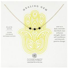 Dogeared Triple Healing Gem Onyx Necklace (70 AUD) ❤ liked on Polyvore featuring jewelry, necklaces, gem necklace, triple bracelet, dogeared necklace, handcrafted gemstone necklaces and gemstone necklaces