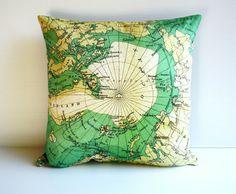 throw cushion ARCTIC CIRCLE cushion cover, map cushion , pillow, cushion, atlas, 16 inch, atlas cushion