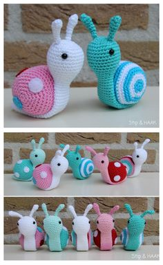 Amigurumi Snail Crochet Free Patterns: Roll Up snails, heart snails, mini snails, video tutorial Crochet Snail, Crochet Amigurumi Free Patterns, Free Crochet, Knit Crochet, Crochet Baby, Butterfly Dragon, Monarch Butterfly, Knitting Projects, Crochet Projects
