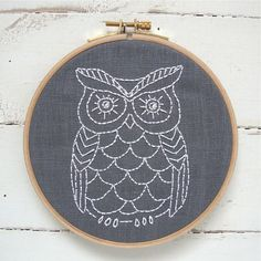 Owl embroidery kit! Grey linen - owl embroidery design in a complete kit. Modern needlecraft - unique, relaxing, and fun!