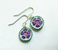 Purple Crochet Lace Earrings by SteffiGlaves on Etsy Love Crochet, Bead Crochet, Learn To Crochet, Crochet Lace, Crochet Granny, Lace Earrings, Flower Earrings, Diy Crafts Crochet, Crochet Projects