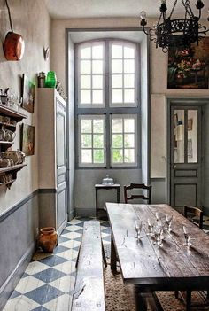 31 Beautiful French Farmhouse Style Moments {Decor Inspiration} - Hello Lovely French farmhouse kitchen with blue grey palette, farmhouse table, checked floor, tall windows, and copper pots. French Country House, House Design, House, Home, Country Decor, Farmhouse Design, French Farmhouse Kitchen, Country Bedroom, French Farmhouse Style