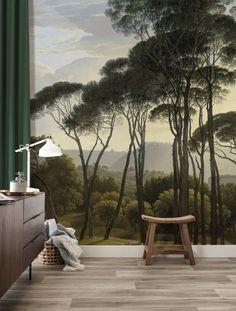 Fototapete Golden Age Landscapes, x 280 cm - KEK Amsterdam Wallpaper Decor, Home Wallpaper, Pattern Wallpaper, Casa Milano, Forest Mural, Wall Treatments, Designer Wallpaper, Golden Age, Home Deco
