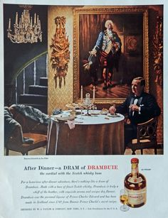 Drambuie Scotch Whiskey  Vintage Print Ad  50 s Illustration  Empress chinchilla by Lee Ritter