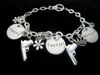 PISTOL PACKIN' PRINCESS Swarovski Crystal & Gun Charm Bracelet by TLN