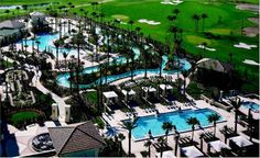 Our first (and only) vacation away from the kids a few months ago was here and can I tell you hubby and I were like children in this facility. Tubing through the  infinity pool, going down the water slide, soaking in the hot tub with a grand view of the course....ahhhh the memory.