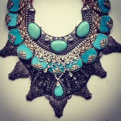 Statement layering by Samantha Wills. I die. Expensive Handbags, Semi Precious Beads, Mode Style, Turquoise Jewelry, Beaded Embroidery, Wedding Jewelry, Jewelery, Jewelry Accessories, Fashion Jewelry
