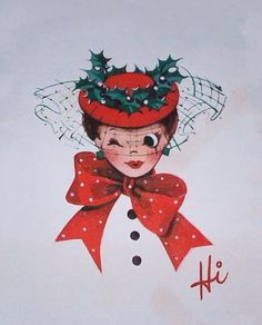 Vintage CHRISTMAS Greeting Card - GIBSON - Lady Winking w/ Hat & Bow