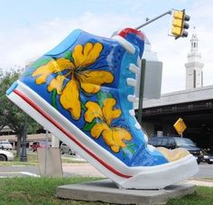 Giant Fiberglass sneaker in Springfield, as part of an Art and Soles Springfield Project