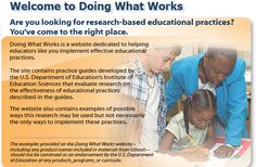 Doing What Works research-based practices via the US Dept. of Education