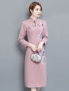 Pink Embroidered Qipao / Cheongsam Dress in Wool Blend