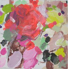 "Becca Kallem - untitled (Bright Fabric) 201, acrylic on canvas 12"" x 12"""